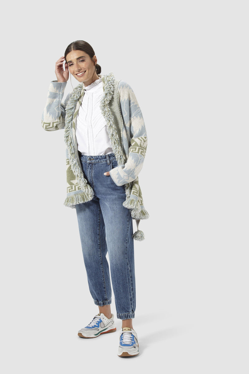 Rich & Royal - Denim jogger-style trousers - model image front