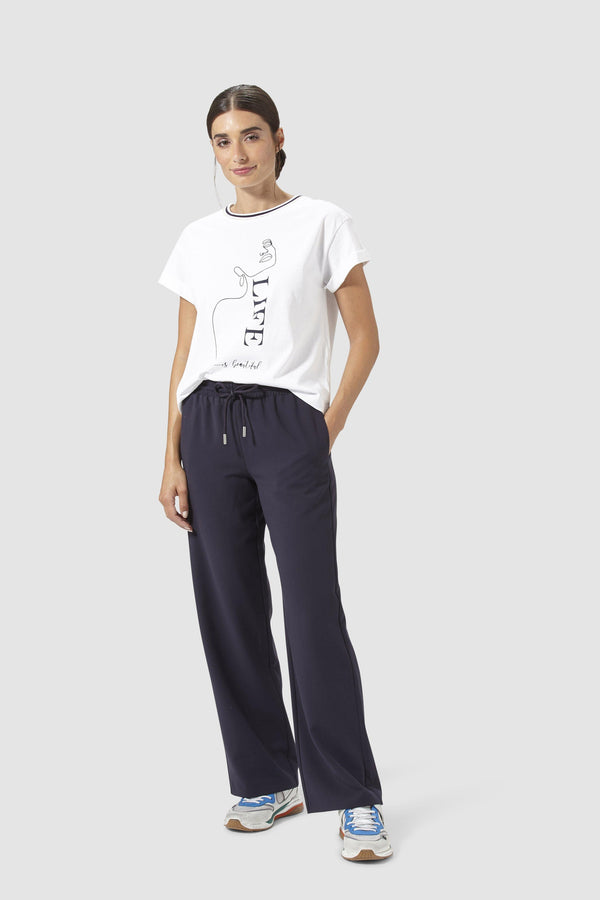 Rich & Royal - Casual leisure trousers with tie cord - model image front