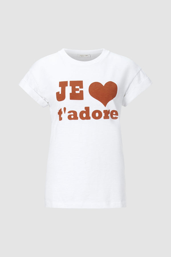 "Rich & Royal - T-shirt with ""Je t'adore"" print - bust"