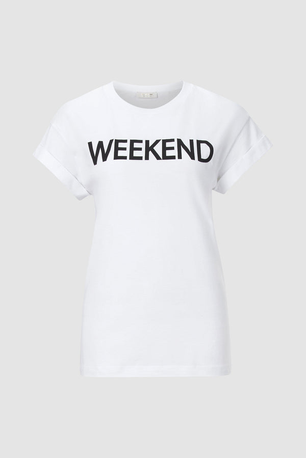 "Rich & Royal - T-shirt with ""weekend each day"" print - bust"
