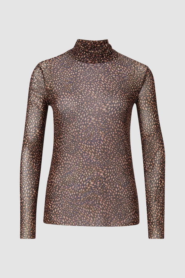 Rich & Royal - Mesh long-sleeved top with leopard print design - bust