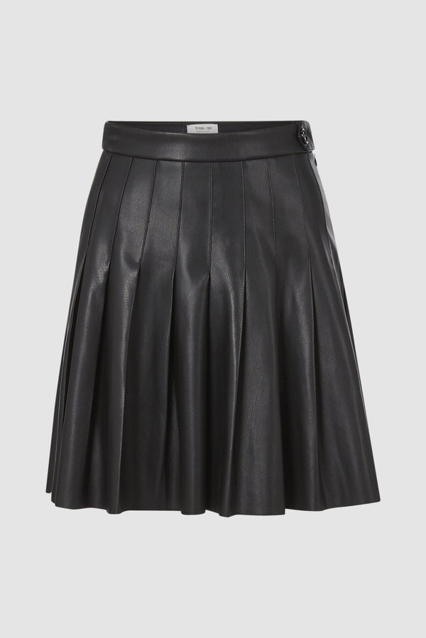 Vegan leather skirt with stitched pleats
