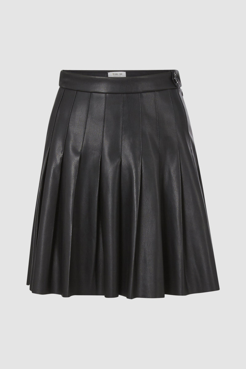Rich & Royal - Vegan leather skirt with stitched pleats - bust