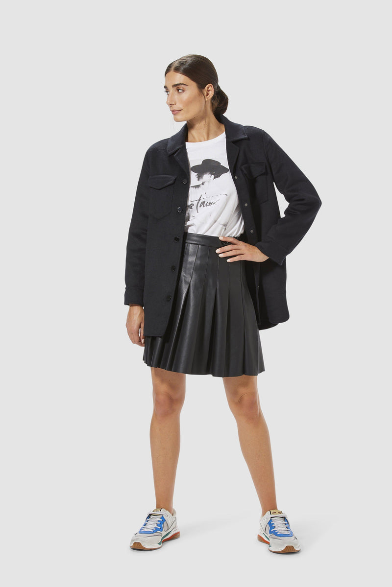 Rich & Royal - Vegan leather skirt with stitched pleats - model image front