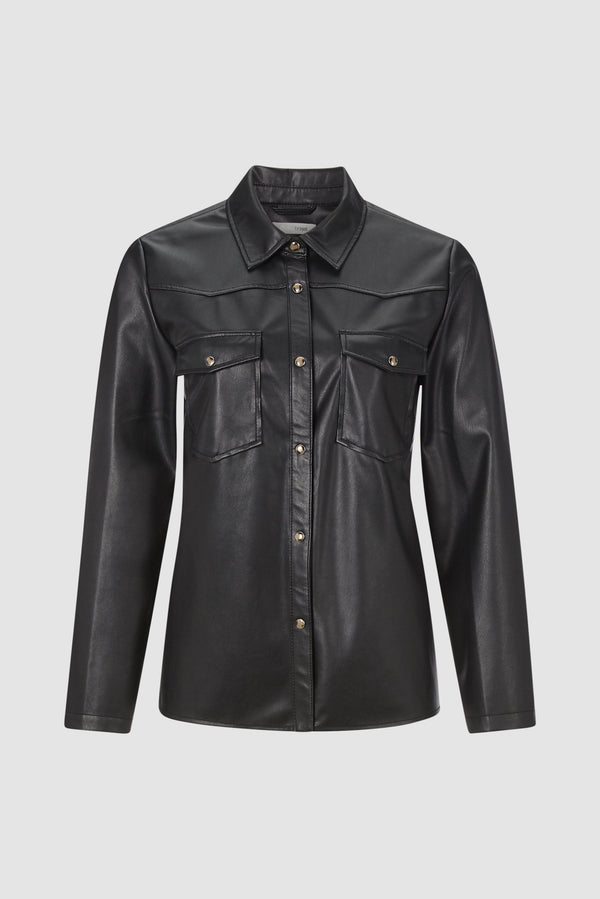 Imitation leather shirt-blouse