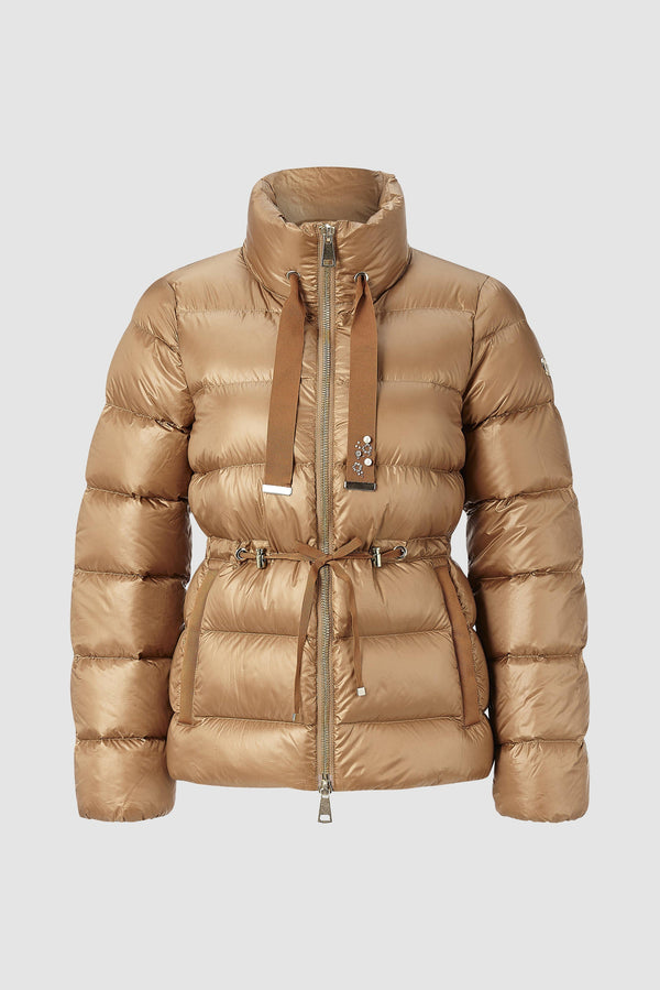 Short down jacket with pearl details