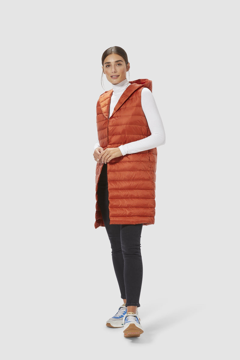 Rich & Royal - Down waistcoat with hood - model image front