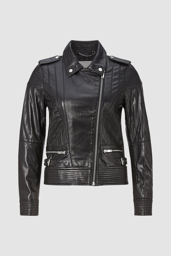 Biker jacket with piping
