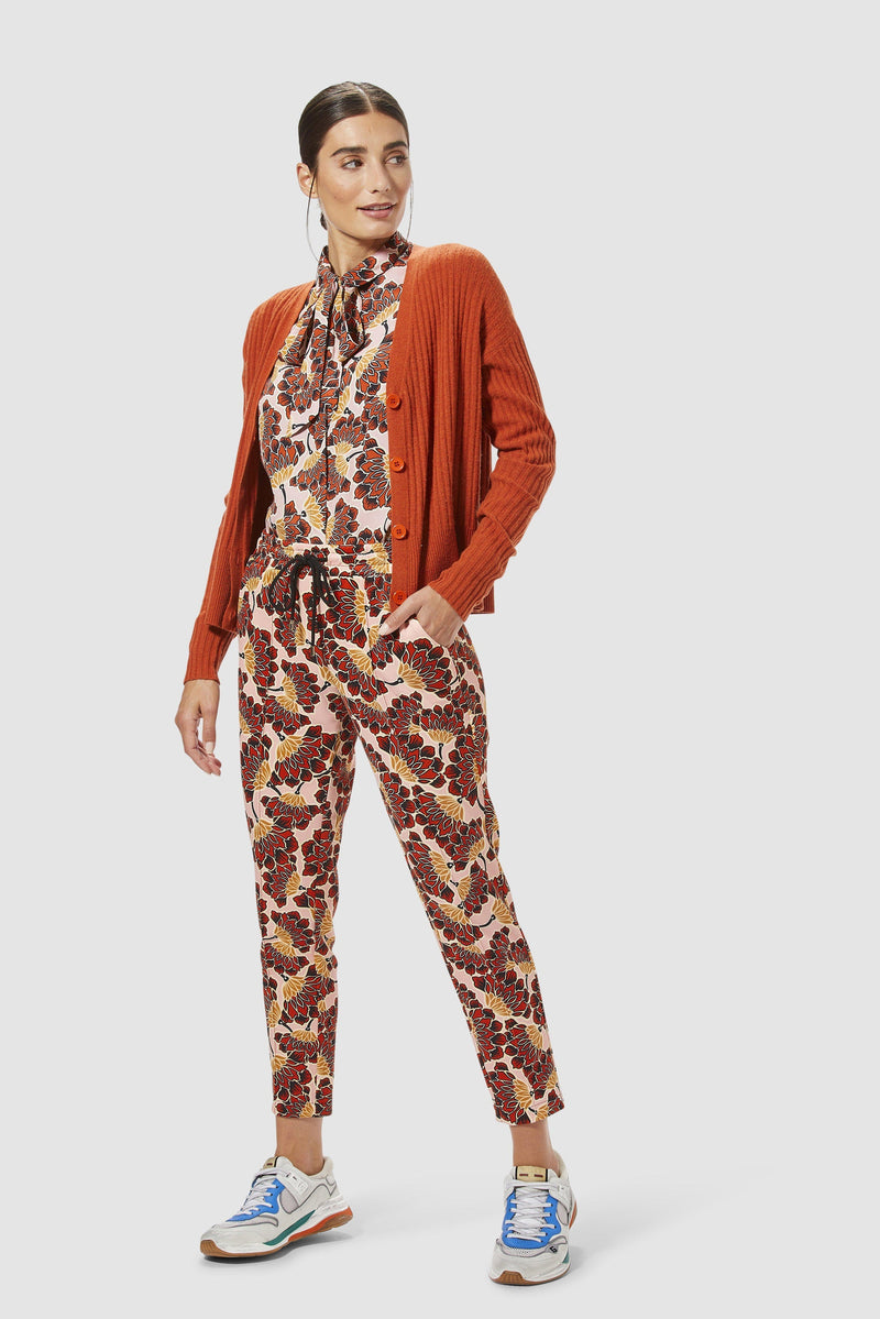 Rich & Royal - Scuba trousers with floral print - model image front