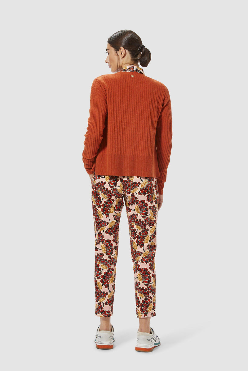 Rich & Royal - Scuba trousers with floral print - model image back