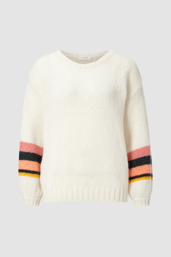 Rich & Royal - Jumper with striped sleeves - bust