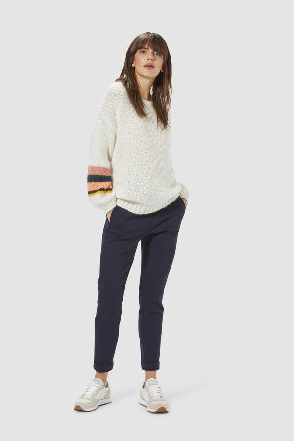 Rich & Royal - Jumper with striped sleeves - model image front