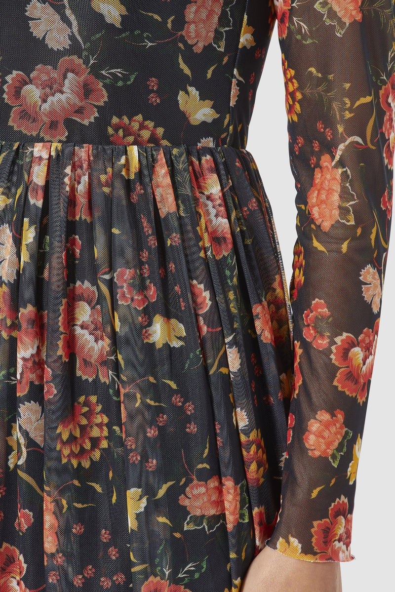 Rich & Royal - Mesh dress with floral design - detail view