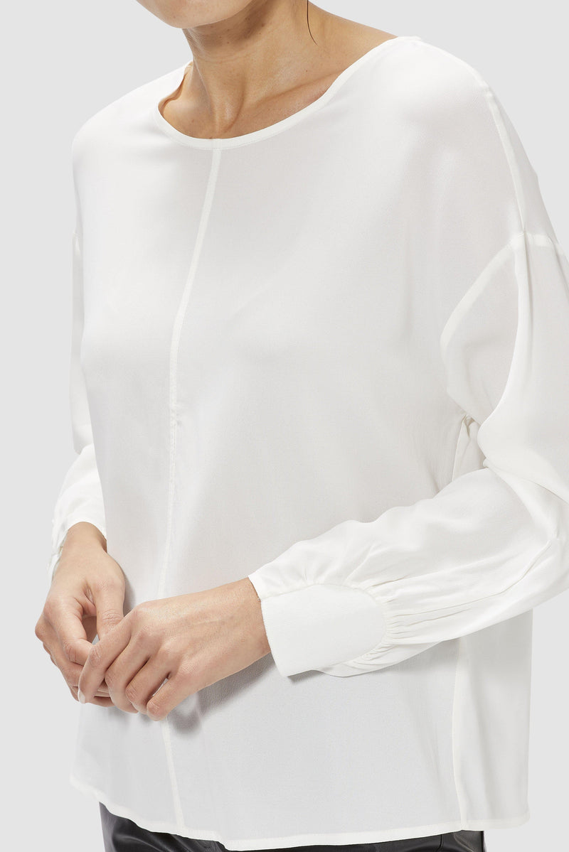 Collarless crêpe blouse with sleeve details