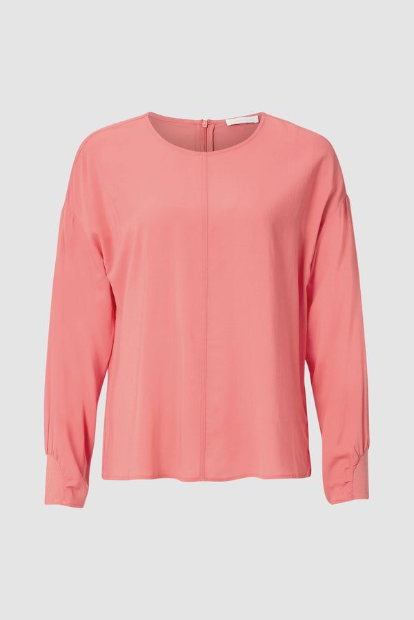 Rich & Royal - Collarless crêpe blouse with sleeve details - bust