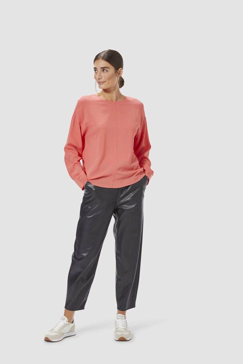 Rich & Royal - Collarless crêpe blouse with sleeve details - model image front