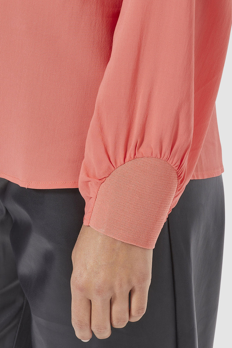 Rich & Royal - Collarless crêpe blouse with sleeve details - detail view