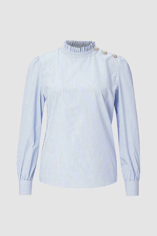 Rich & Royal - Striped blouse with frilled collar - bust
