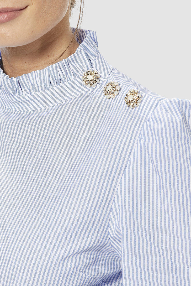 Rich & Royal - Striped blouse with frilled collar - detail view