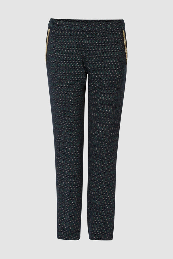 Rich & Royal - Trousers with lurex accents and beaded details - bust