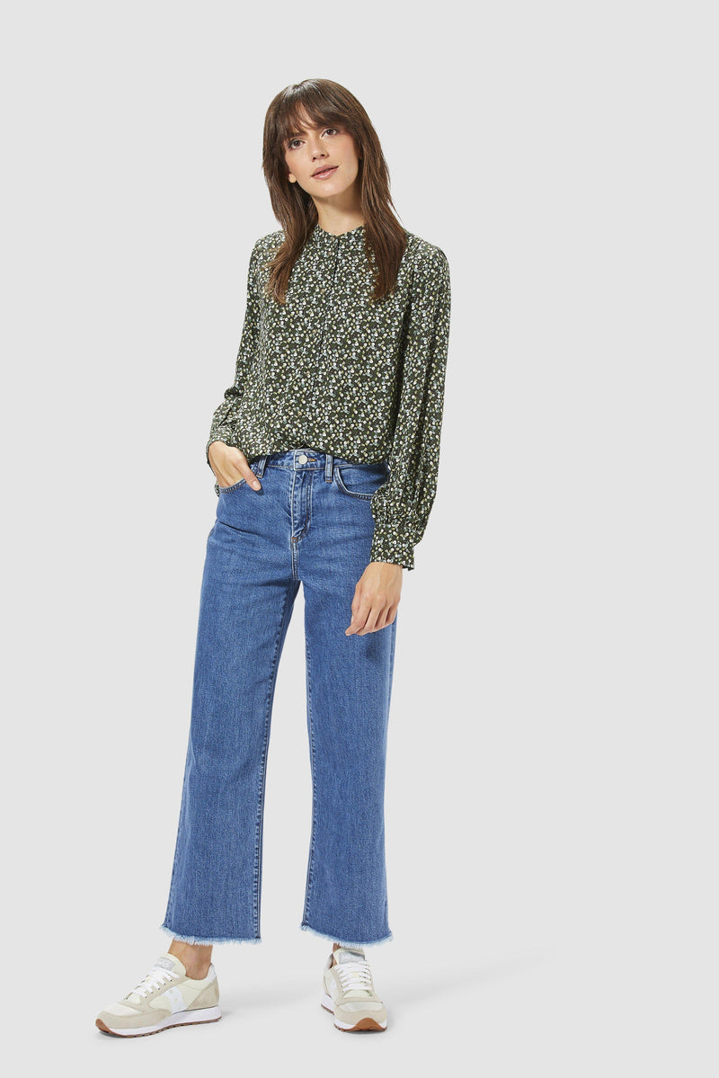 Rich & Royal - Straight-cut jeans with fringed hem - model image front