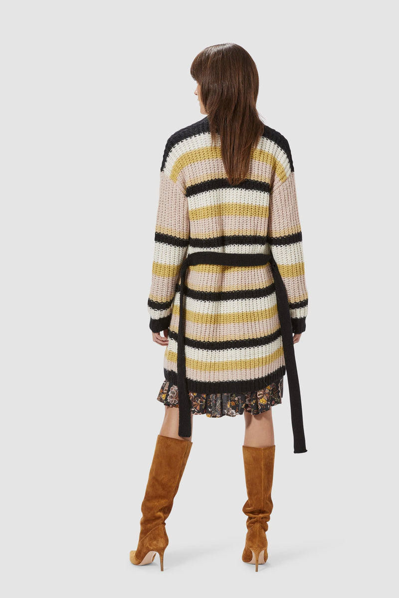 Rich & Royal - Long striped cardigan - model image back