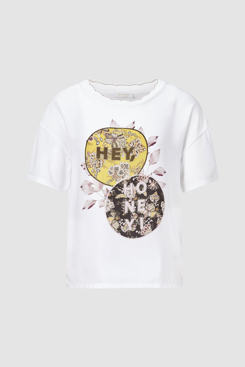 Rich & Royal - T-shirt with glitter statement - bust