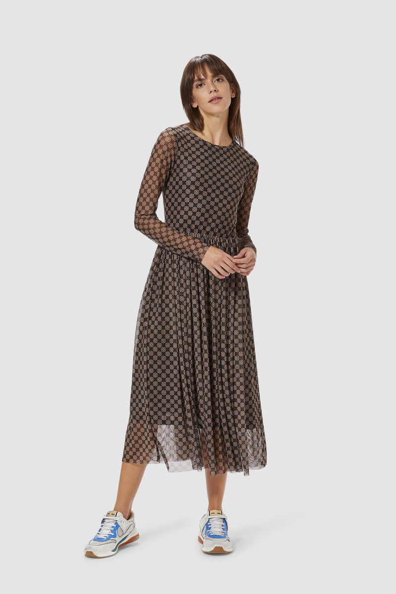 Rich & Royal - Mesh dress with retro print - model image front