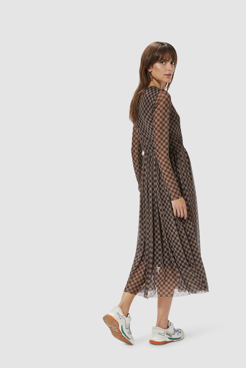 Rich & Royal - Mesh dress with retro print - model image back