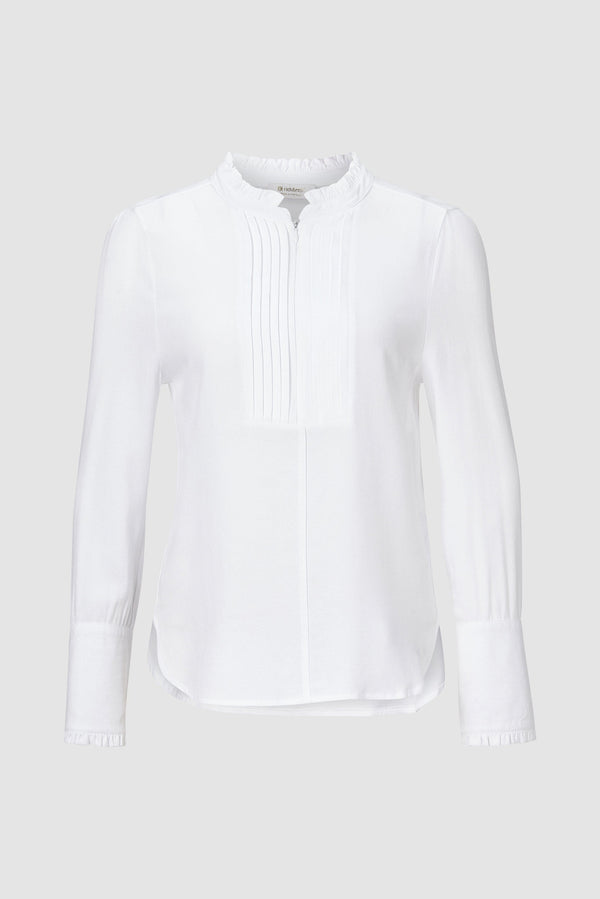 Rich & Royal - Blouse with frilled details and front zip - bust