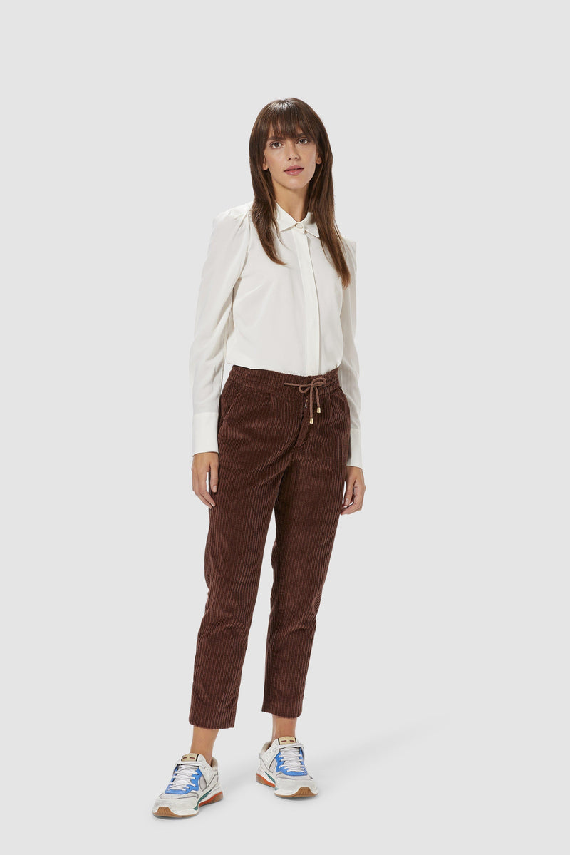 Rich & Royal - Corduroy jogger-style trousers - model image front