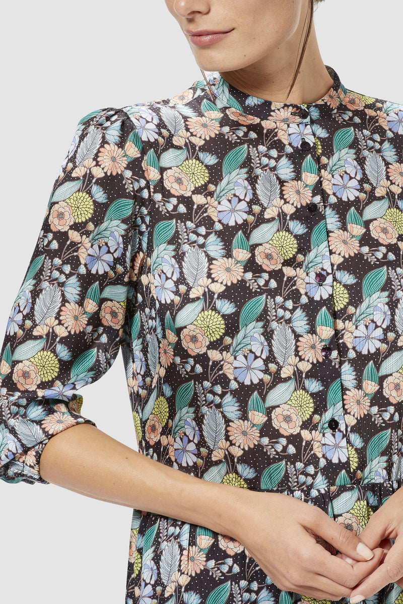 Rich & Royal - Printed dress with frilled hem - detail view