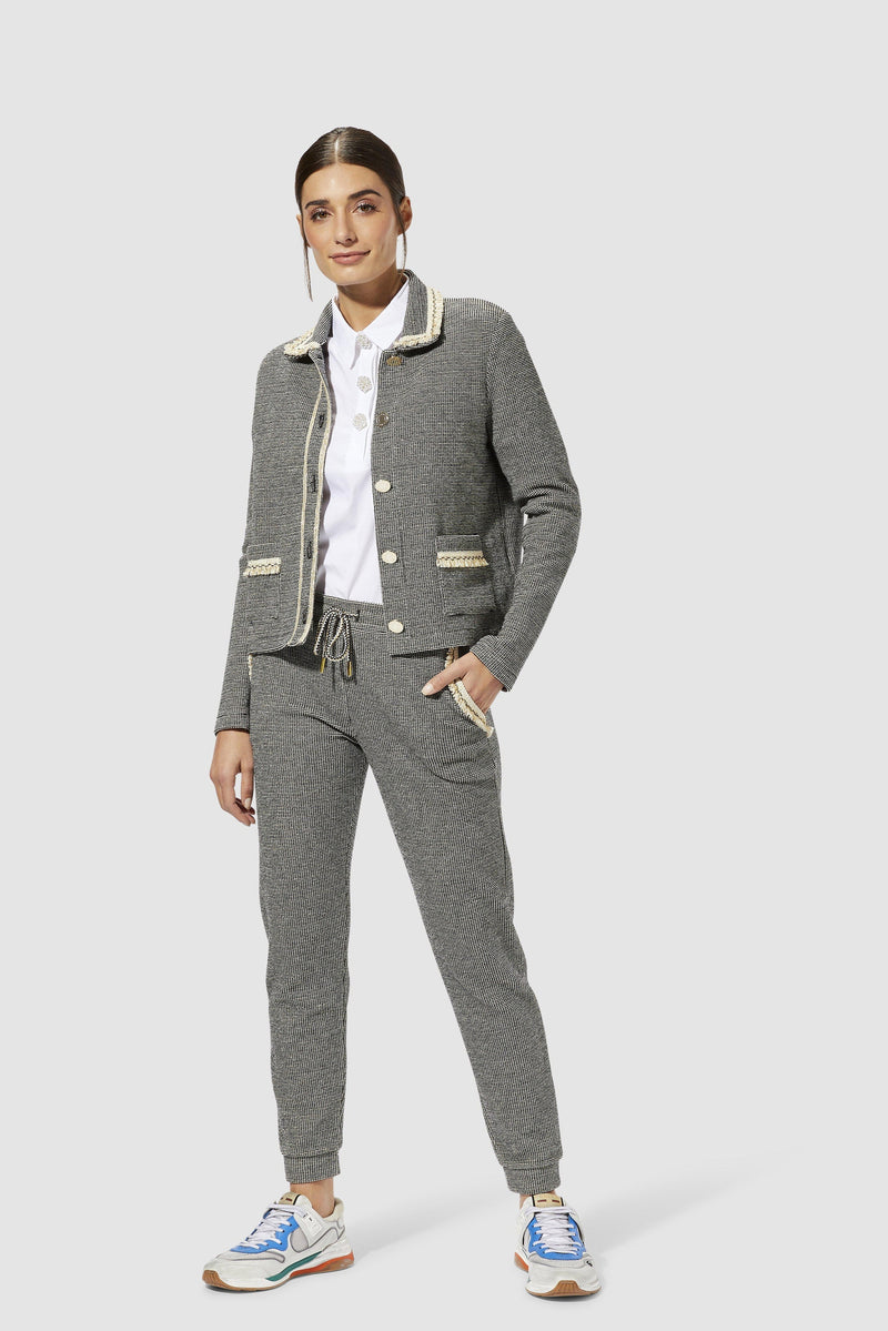 Rich & Royal - Jacket with decorative tape and metal buttons - model image front