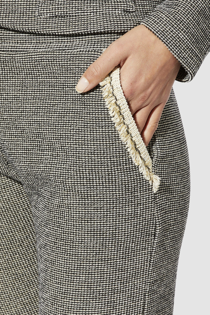 Rich & Royal - Trousers with decorative tape and fringing - detail view