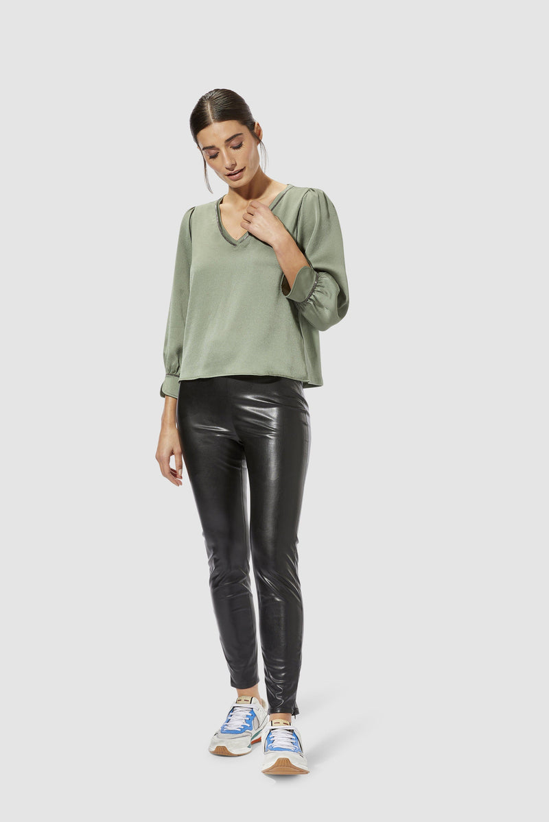 Rich & Royal - Artificial leather leggings - model image front