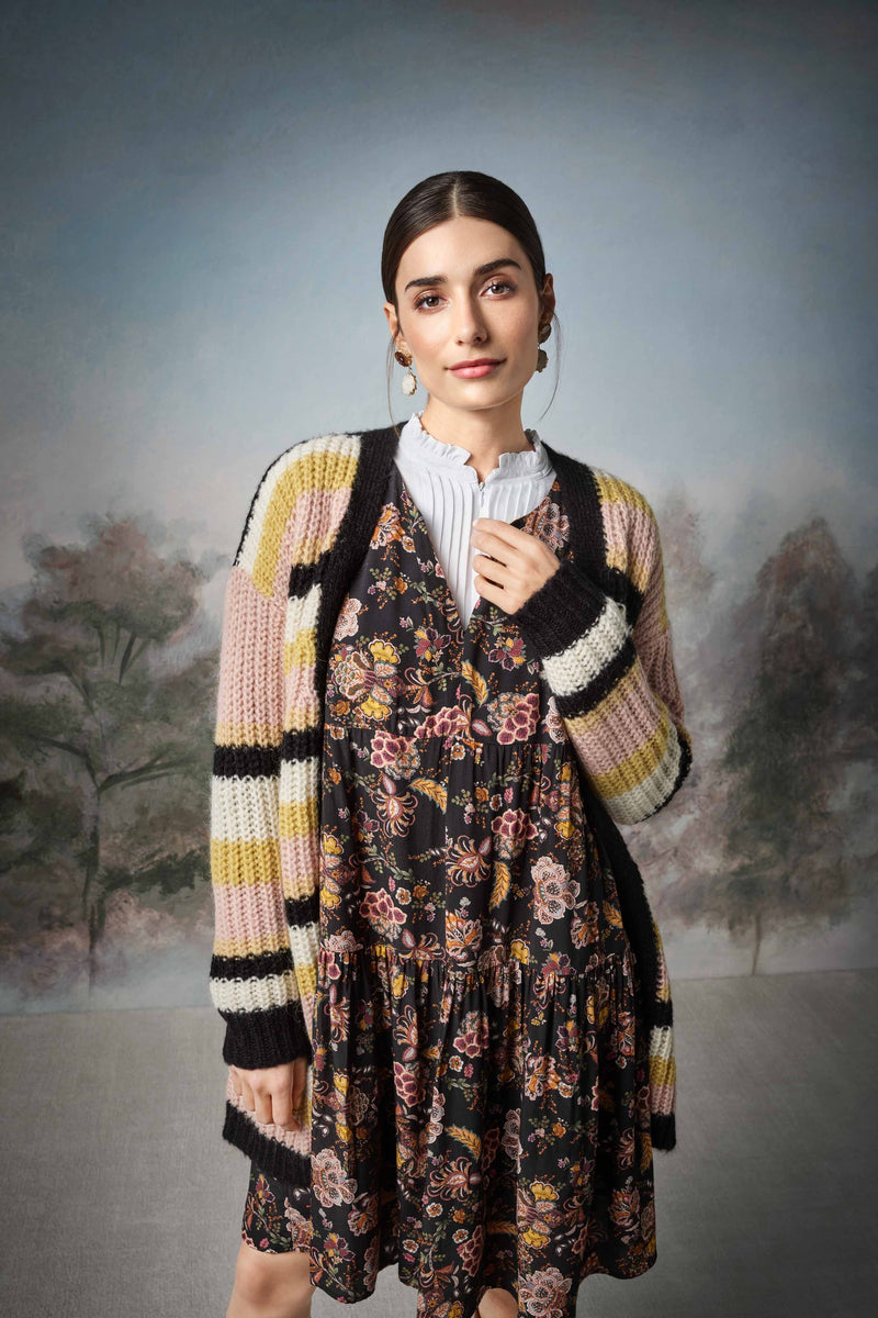 Rich & Royal - Long striped cardigan - campaign image