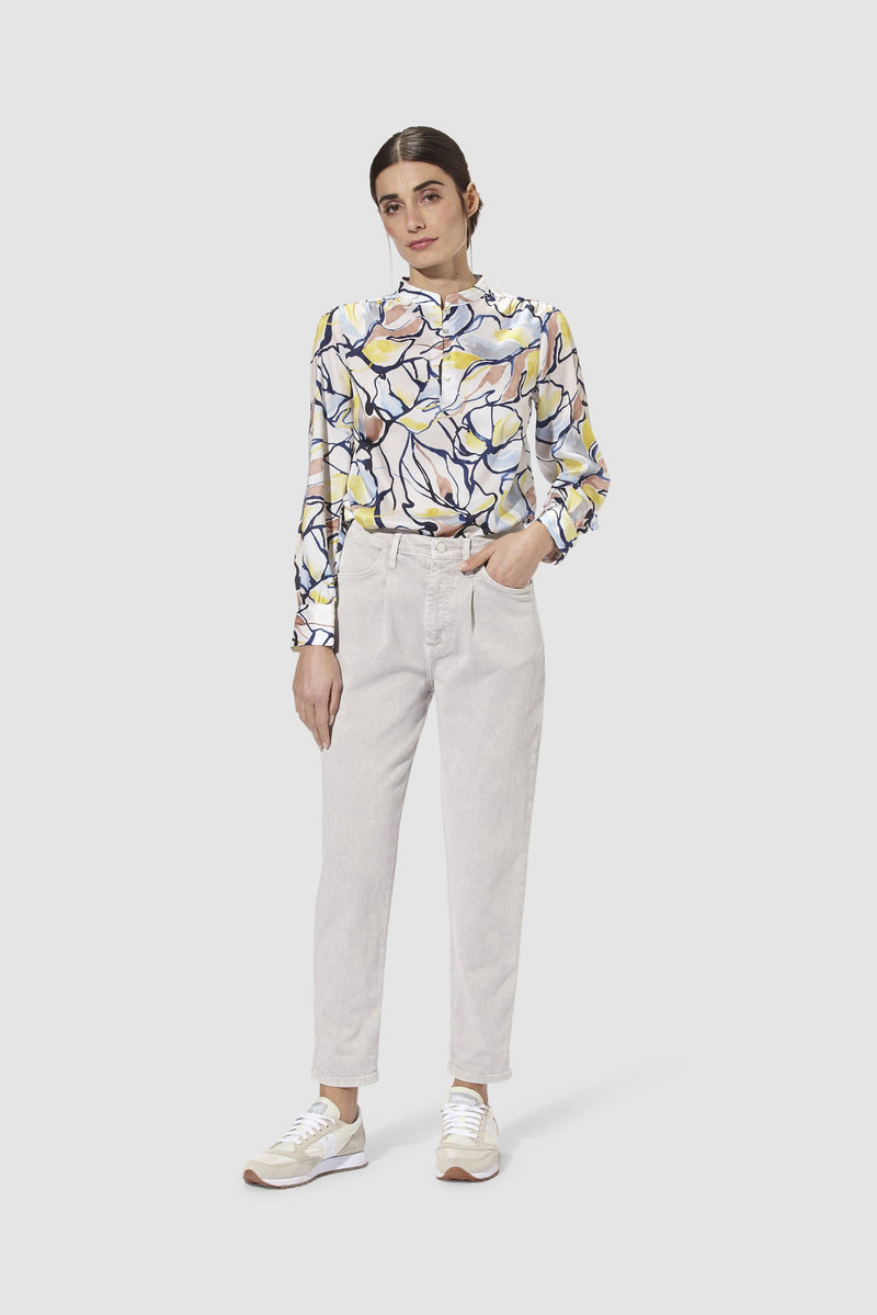 Rich & Royal - Printed blouse with stand-up collar - model image front