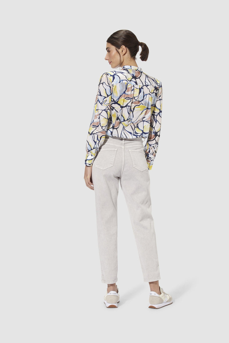 Rich & Royal - Printed blouse with stand-up collar - model image back