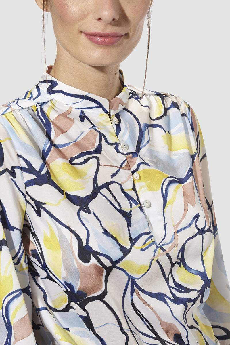 Rich & Royal - Printed blouse with stand-up collar - detail view
