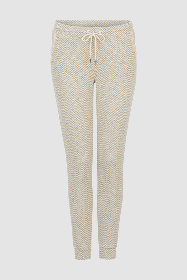 Rich & Royal -Refined jogger-style trousers in lurex jacquard - bust