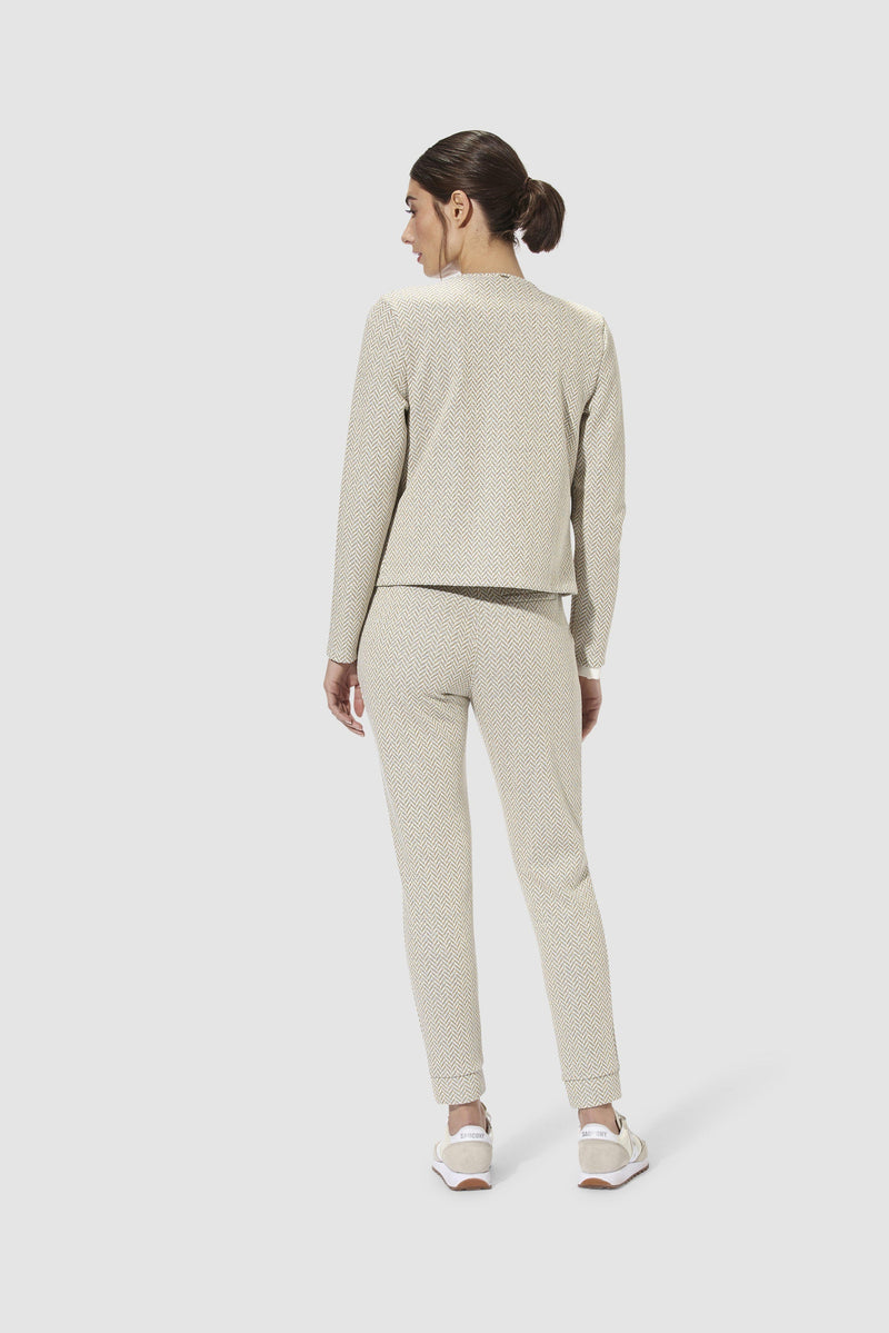 Rich & Royal -Refined jogger-style trousers in lurex jacquard - model image back