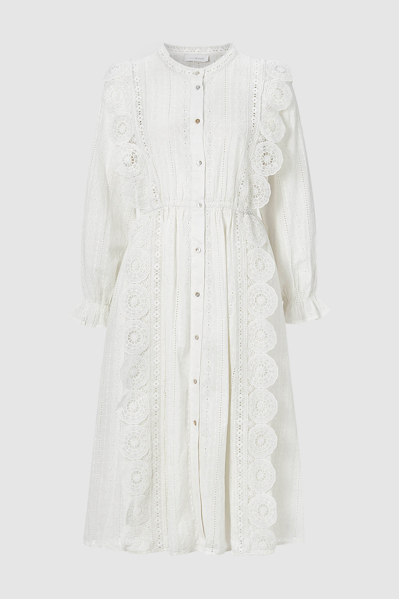 Dress with broderie anglaise