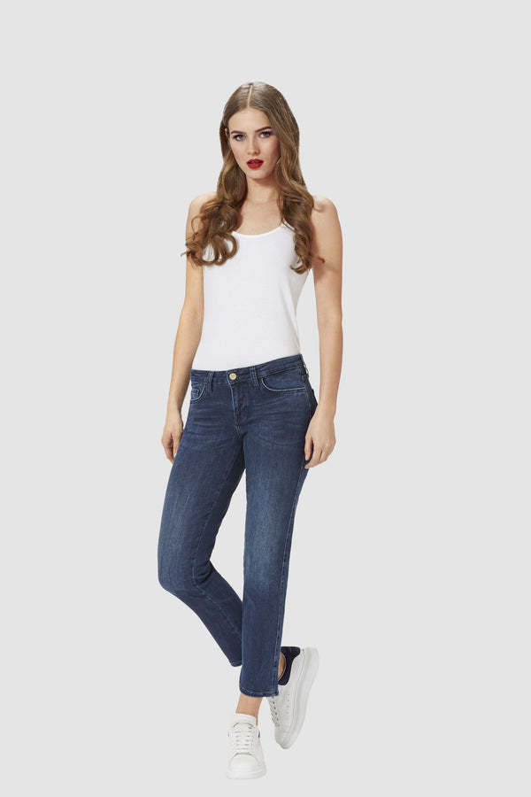 Cigarette jeans in satin stretch