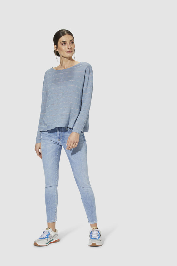 Long-sleeved linen top with lurex