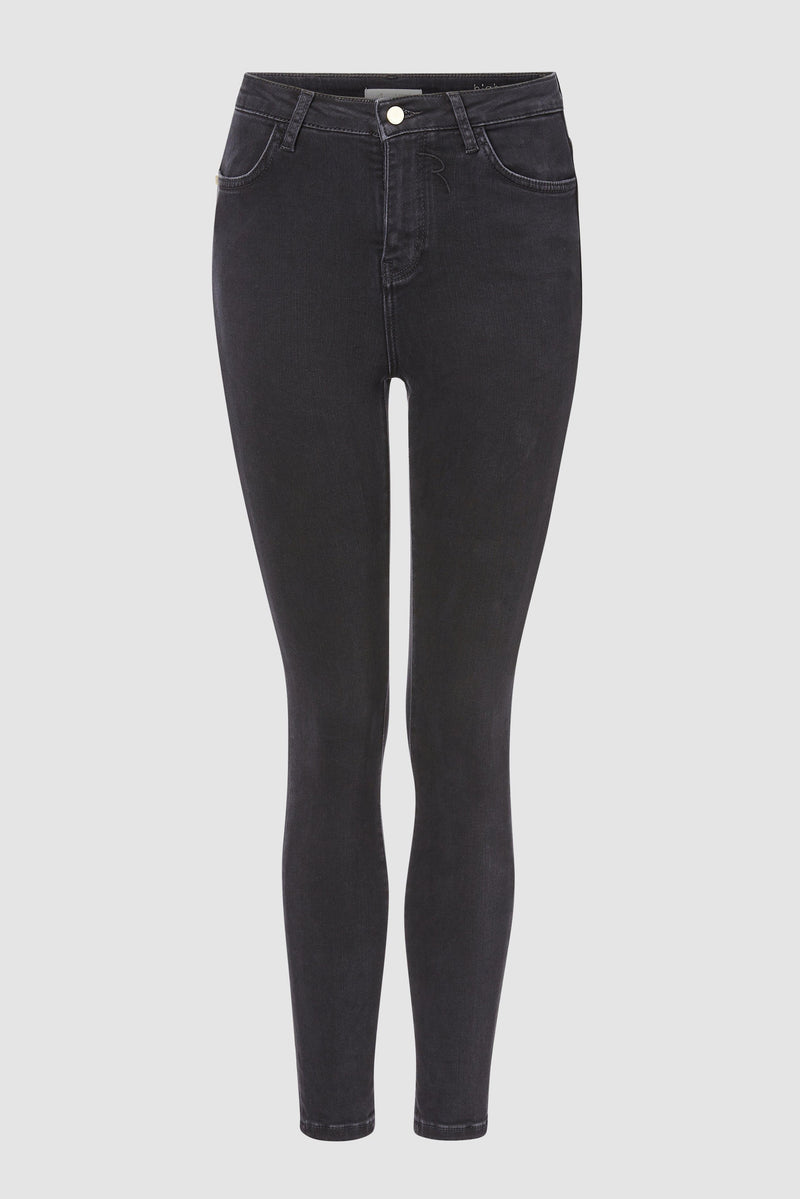 High-waisted black satin jeans