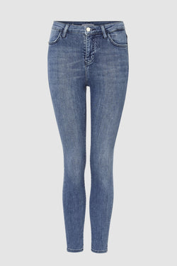High-Waist Jeans Blue Satin