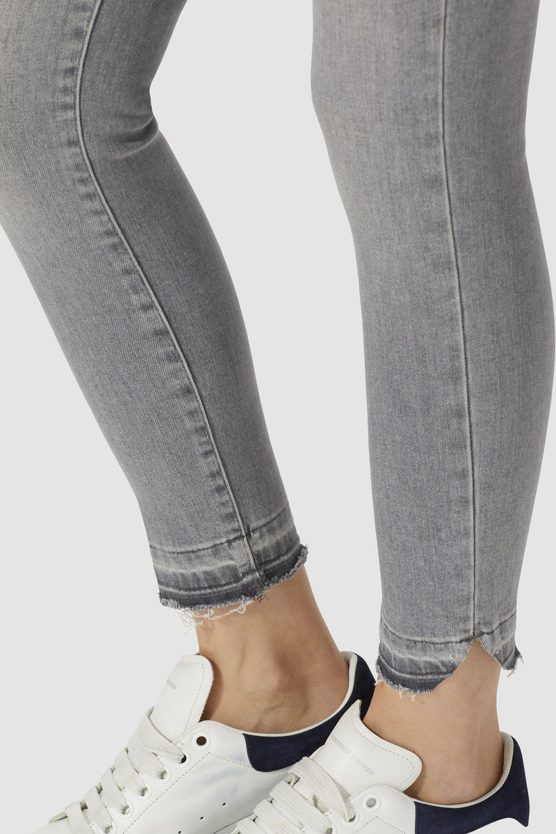 Midi jeans with destroyed details