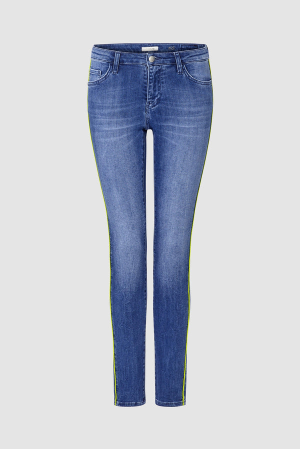 Midi jeans with neon piping