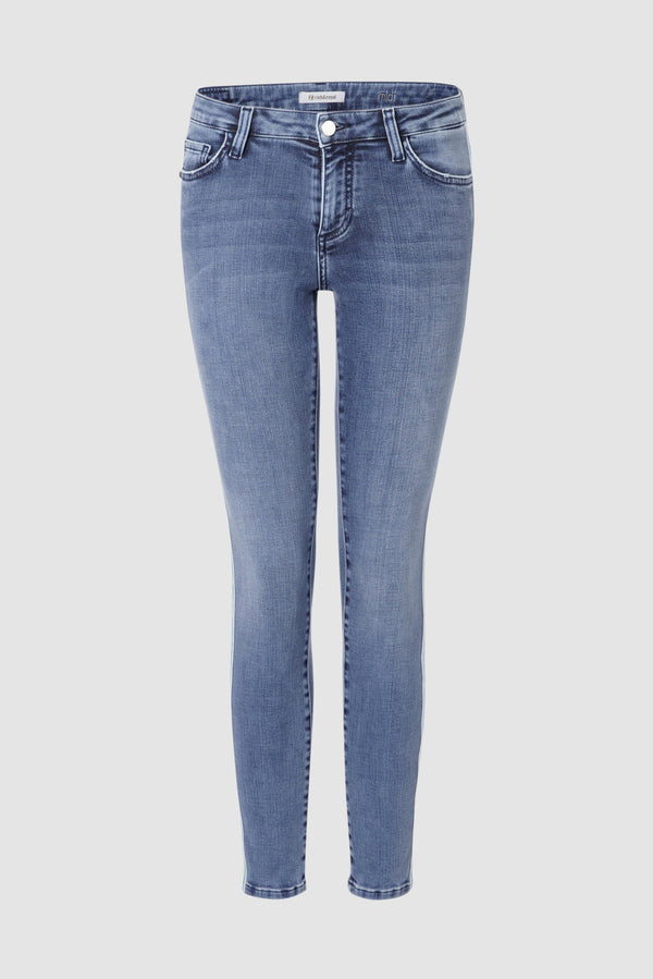 Midi jeans with striped tape