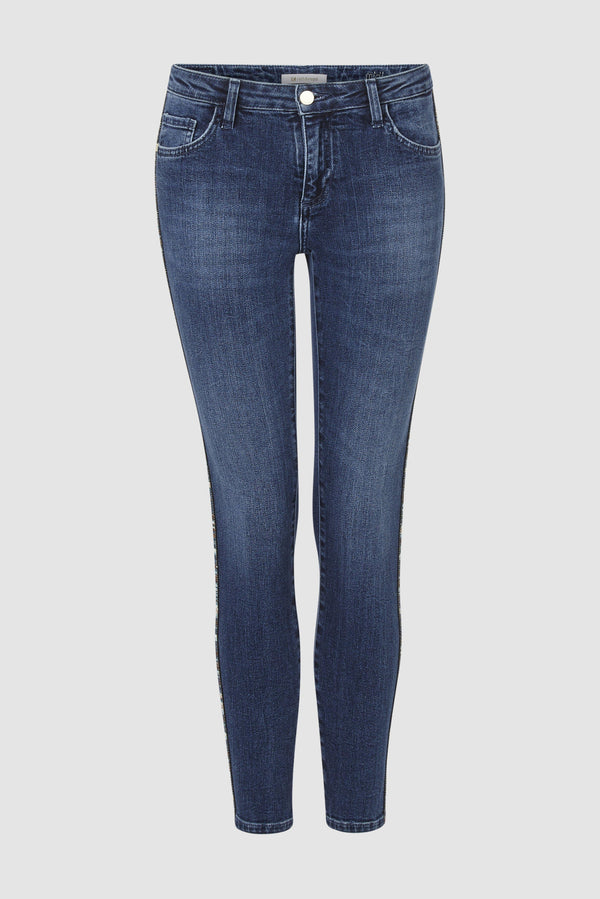 Rich & Royal - Midi jeans with lurex stripes - bust